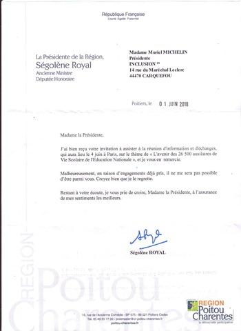 réponse de Ségolène Royal pour le 4 Juin 2010