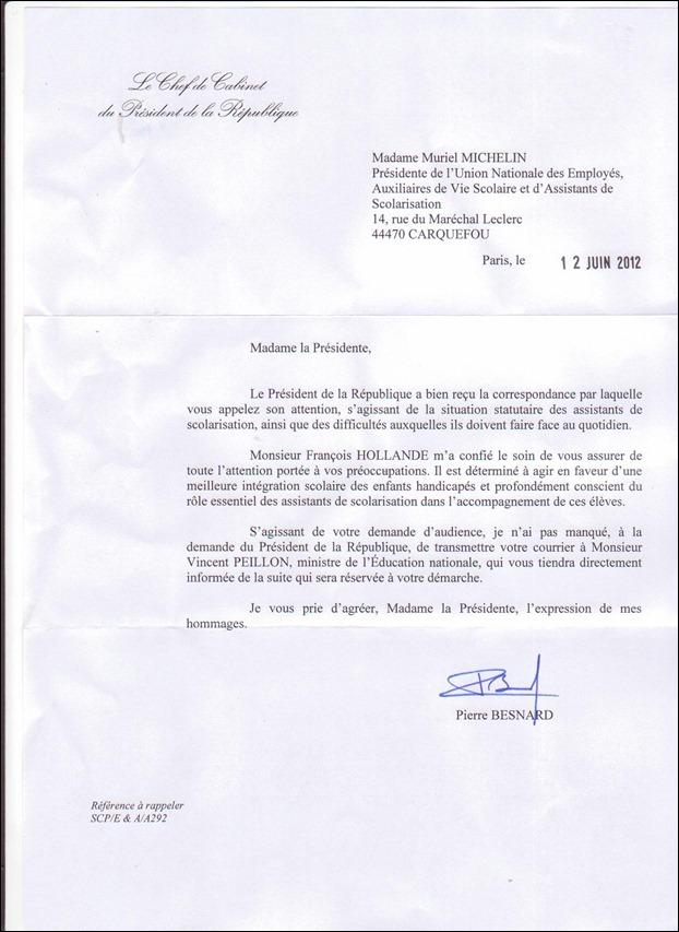 reponse François Hollande a l'UNEAVS