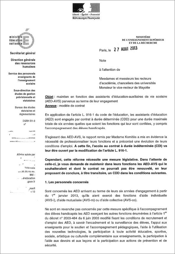 modele lettre demission education nationale