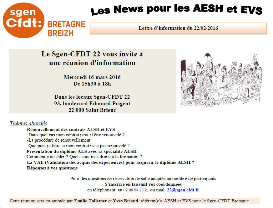 16 mars 2016 Invitation aux AESH une runion dinformation par le
